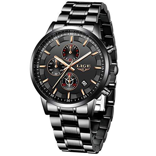 LIGE Relojes para Hombres Deportes Militares Reloj de Negocios de Acero Inoxidable a Prueba de Agua para Hombre con Fecha analógica de Cuarzo Negro clásico Reloj …