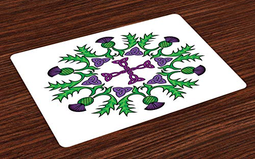 Ambesonne Thistle Place Mats Set of 4, Abstract Wreath Image with Flowers of Thistles and Celtic Knot, Washable Fabric Placemats for Dining Room Kitchen Table Decor, Violet Lime Green and White