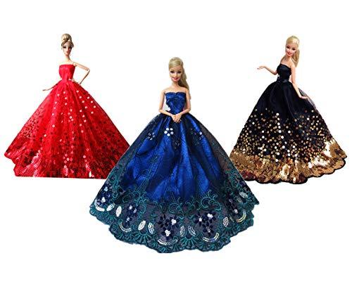 Mobby Splendido Abito da Sposa Fatto a Mano Moda Abito da Sposa Set per Barbie Dolls, Abiti Principessa Perfetto per Il Regalo delle Ragazze (A Style-3PCS)
