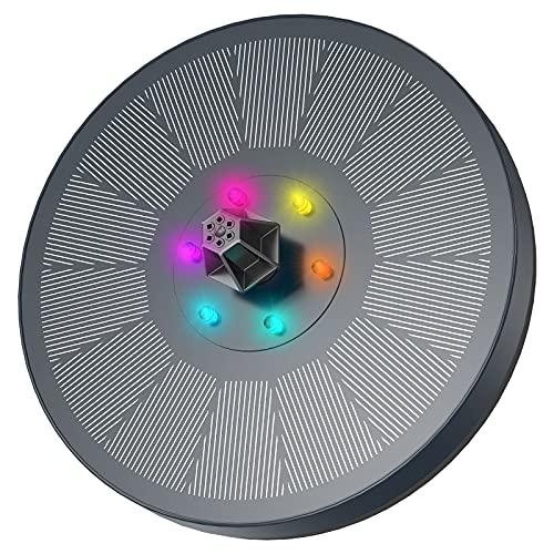 Fuente Solar con Luces LED, AISITIN 3W Solar Fuente Bomba con Filtrar y Barras...