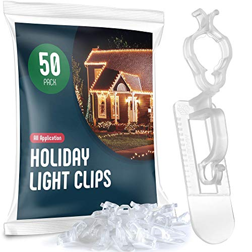 SEWANTA Holiday Light Clips [Set of 50] Christmas Light Clips for gutters and Shingles. All-Application Outdoor Light Clips, Work with C7, C9, Mini, Icicle Lights. No Tools Required - USA Made