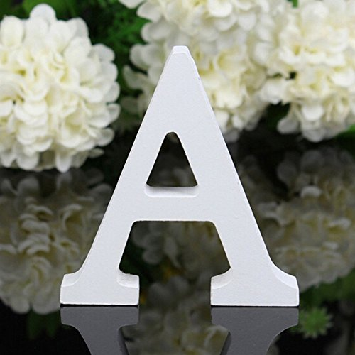 Freeas Decorative Wood Letters, 26 Letters Wooden Alphabet Wall Letter for Children Baby Name Girls Bedroom Wedding Brithday Party Home Decor-Letters,Hight: 8cm/3' (Letter A)