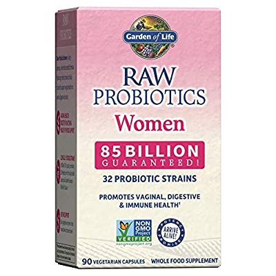 Garden of Life Raw Probiotics for Women - 85 Billion CFU Vaginal Probiotics with Vitamins, Minerals, Fruits, Veggies & Enzymes - 90 Capsules, Womens Probiotic Supplement for Digestive & Immune Health