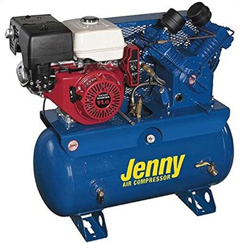 Jenny GT11HGB-30T Two Stage Service Vehicle Electric Start Gas Powered Air Compressor with GT Pump, 30 Gallon Tank, 11 HP