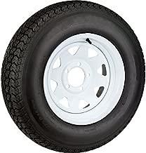 Radial Trailer Tire On White Rim ST205/75R15 Load C 5 Lug On 5.5 Spoke Wheel