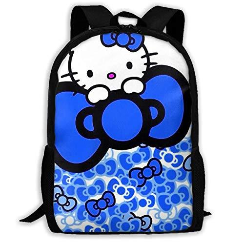 Mei-shop Mochila Informal Azul Personalizada Hello-Kitty Mochila Escolar Mochila de Viaje Regalo