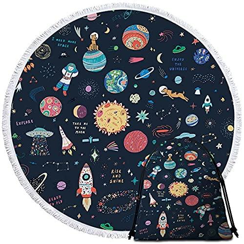 Mochila con cordón de espacio exterior con diseño de alienígenas con estampado de cohete azul y planeta y luna, para gimnasio, senderismo, yoga, gimnasio, natación, viajes, playa