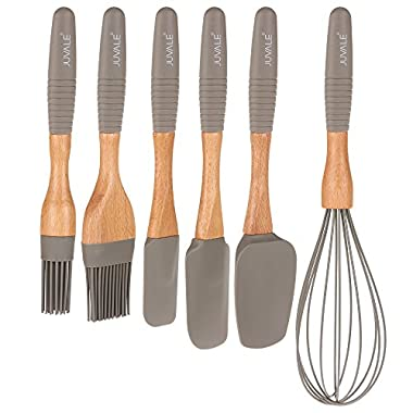 6-Piece Kitchen Gadgets Set - Silicone Cooking and Baking Utensil Supplies with Beech Wood Handles, Includes Spatula Turners, Egg Whisk, and Basting Brushes
