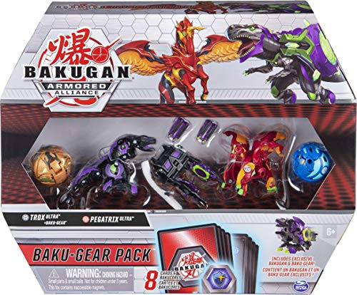 Bakugan 6056037 - Baku-Gear Pack mit 4 Armored Alliance Bakugan (2 Ultra & 2 Basic Balls) und 1 Set Baku-Gear, unterschiedliche Varianten