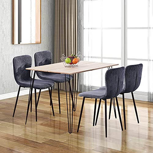 GOLDFAN Wooden Dining Table and 4 Chairs Rectangular Kitchen Dining Table and Fabric Chairs with Metal Legs Dining Room Set,Grey