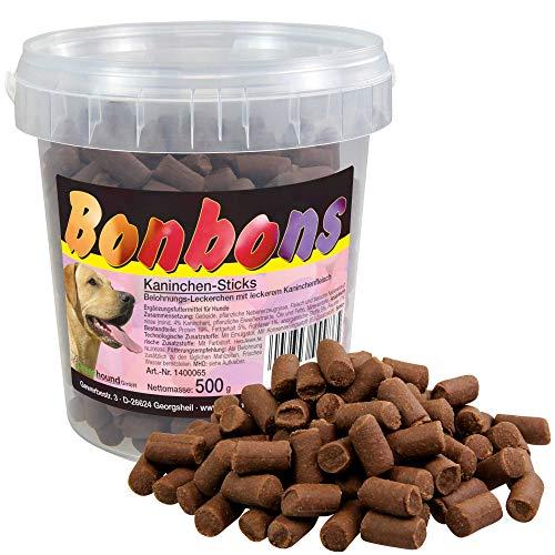 Schecker 3 x 500g Hundebonbons Kaninchen Sticks - Hundeleckerlie mit Fleisch - Soft weich - Im Wieder verschließbaren Frischeeimer