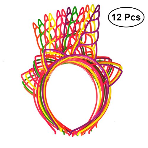 12pcs Vendas de unicornio de plástico, Bandas de pelo de unicornio de...