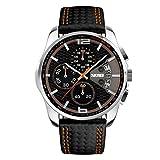 Relojes Pulsera Cronógrafo Calendario 30M Impermeable Analógico Relojes Hombre Negro Cuero Deportivo, Naranja