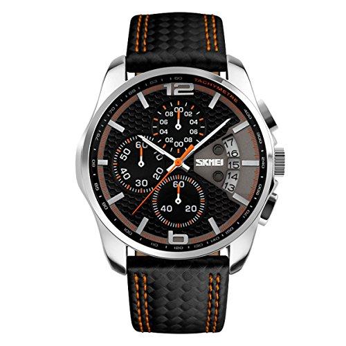 Relojes Hombre Cronógrafo Calendario Relojes Impermeable de 30M Reloj Cuero Negro Casual