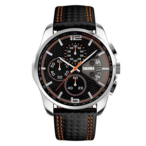 Herrenuhren Chronograph Sportuhr Schwarz Kalender Armbanduhren für Herren Schwarz mit LederArmband