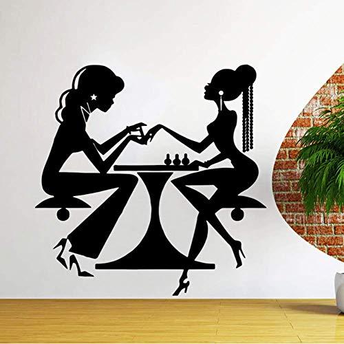 Nail Store Stickers Muraux Salon de Beauté Cheveux Manucure Vinyle Stickers Muraux Coiffeur Décor Décoration de La Maison Amovible 42x42cm