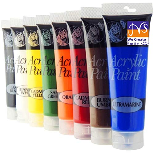 JMS 8 Tubes of Assorted Colour Acrylic Paint - 120ml Tubes- Exclusive Edition