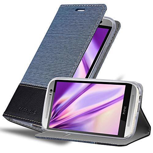 Cadorabo Hülle für HTC ONE M8 (2. Gen.) - Hülle in DUNKEL BLAU SCHWARZ – Handyhülle mit Standfunktion und Kartenfach im Stoff Design - Case Cover Schutzhülle Etui Tasche Book