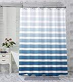 AmazerBath Ombre Stripe Shower Curtain, Navy Blue...