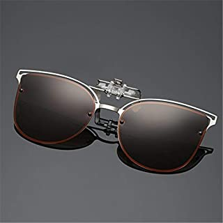 LUKEEXIN Sunglasses Fashion Women Sunglasses Clip Short-sighted Driving Vision UVA and UV Lenses Cycling Sunglasses Polarized Clip (Color : Brown)