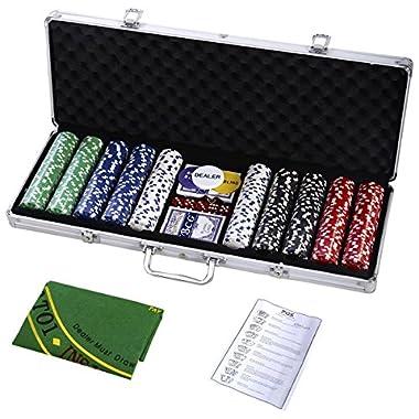 Goplus Poker Chip Set Holdem Cards Game 11.5 Gram Chips w/Aluminum Case, Cards, Dices, Blind Button for Blackjack Gambling (500 Chips Set)