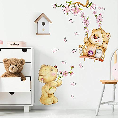 R00154 Adesivi Murali Orsetti Altalena Fiori Peluche Decorazione Muro Bambino, Cameretta Asilo, Nido Camera Letto, Carta da Parati Adesiva Effetto Tessuto
