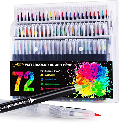 Vacnite Watercolor Markers Brush Pen, Set of 72 Colors with 3 Water Pens, Paint Markers for Adults and Kids, Flexible Real Brush Water Color Pens for Coloring Books, Calligraphy Artists and Beginners