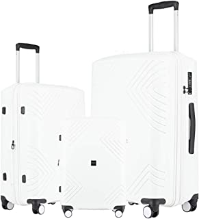PP Material Luggage 3 Piece Sets Lightweight Spinner Expandable Luggage(all 20 24 28)