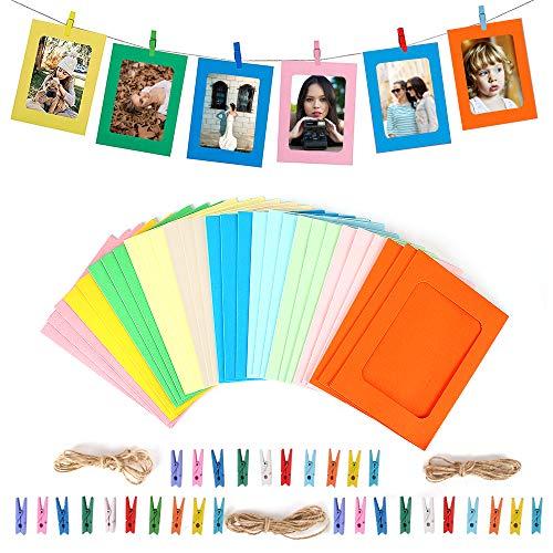 VEESUN Papier-Bilderrahmen, 30 Stück zum Selberbasteln, zum Aufhängen, Dekoration Clips und 3 Hanf-Seile Set für 11 x 11,5 cm Bilder Hauptwanddekor, 10 Farbe, MEHRWEG