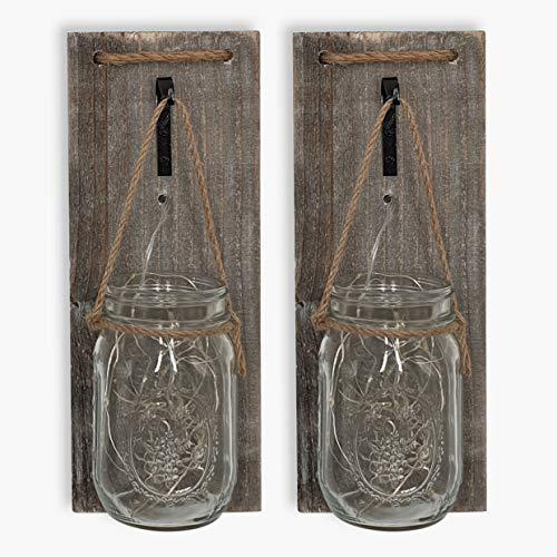 ISOTRONIC LED Lampe (2er Set) Leuchte Laterne, Hängeleuchte für Bad, Haus, Garten, Balkon und Außen Einmachglas Vorratsglas Deko für Party, Fest, Hochzeit (transparent)