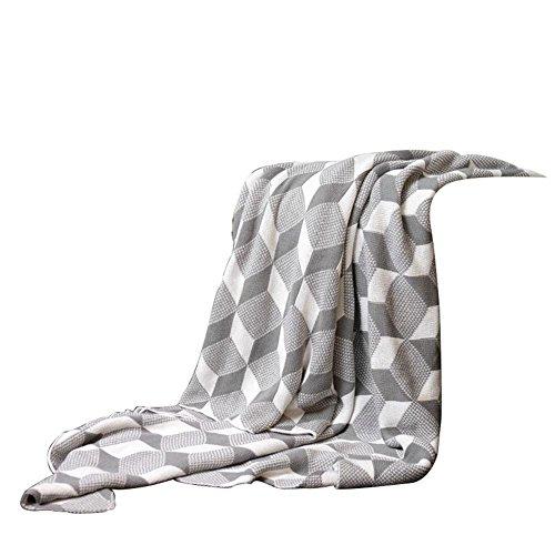 Couvre-lit 100 % coton Plaid Douillette Jeté 100% Coton Couverture Luxury lavable en machine, CS046 COSY-L , gray , 150*200cm