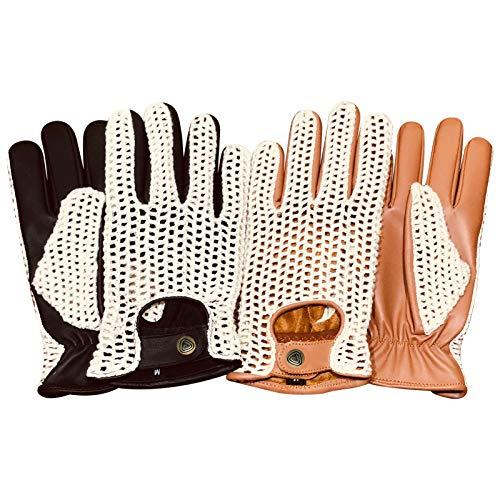 Prime Leather Guantes para Ciclismo de Cuero y Malla con Medios Dedos...