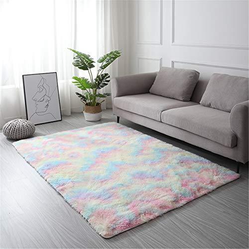 LYKEJI Tappeto a pelo lungo per soggiorno, tappeto moderno antiscivolo super morbido a pelo lungo, per soggiorno, camera da letto, tappetini con motivo bambini (arcobaleno, 80X120CM)