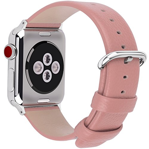Fullmosa Compatible Apple Watch Straps 38mm,15 Colors Genuine Leather Band/Strap for iWatch Series 1 2 3 2015 2016 2017, 38mm Pink