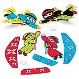 Baker Ross Planeurs ninja, pour les jouets des enfants, les remplisseuses de sacs de fête, les jeux et les prix (paquet de 8) AC867