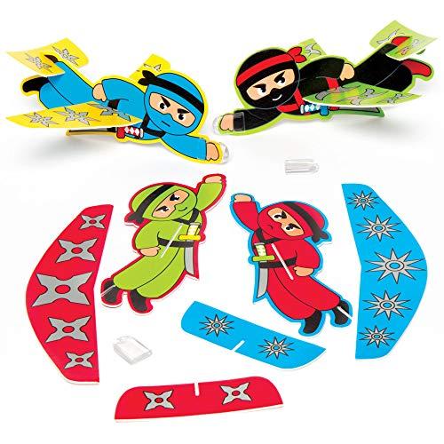 """Baker Ross Hölzerne fliegende Segelflugzeuge """"Ninja"""", Kunsthandwerk zum Ausmalen für Kinder, Partytaschenfüller, Spiele und Preise (8er-Pack), sortiert"""