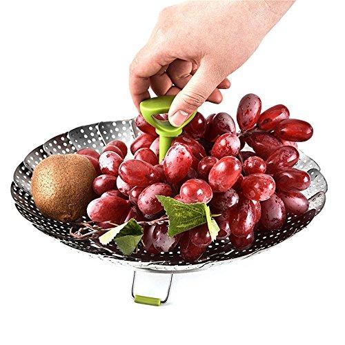 Dampfgarer Einsatz für Baby-Nahrung geeignet - Faltbarer Steamer Basket Stainless Steel Vegetable Steamer Basket Dämpfeinsatz für Kochtöpfe - Kartoffeldämpfer, Gemüsedämpfer, Dünsteinsatz (9 Zoll)