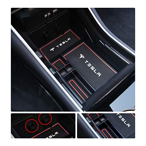 YEE-PIN-Model-3-Center-Console-Organizer-Tray-for-Tesla-Model-3-2018-2019-2020-Model-Y-Center-Console-Storage-Box-Armrest-Box-Secondary-Storage-Insert-ABS-Black-Materials-Tray-Red