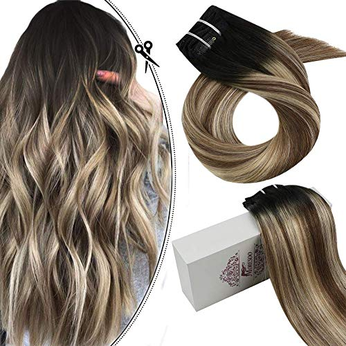 Moresoo 16 Pouces Clip in Extensions Remy Human Hair 9PCS 100G Color #1B Off Black Fading to #8 Light Brown Highlight with #24 Light Blonde Double Wef