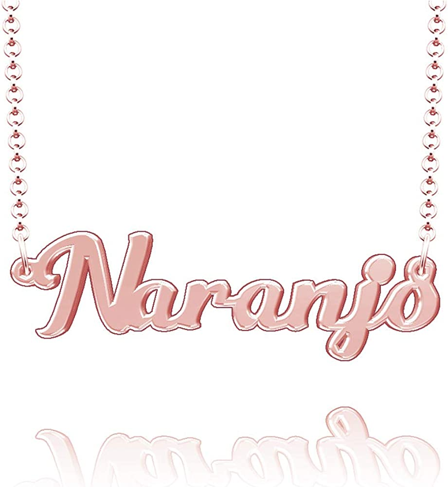 LoEnMe Jewelry Naranjo Name Necklace Stainless Steel Plated Custom Made of Last Name Personalized Gift for Family