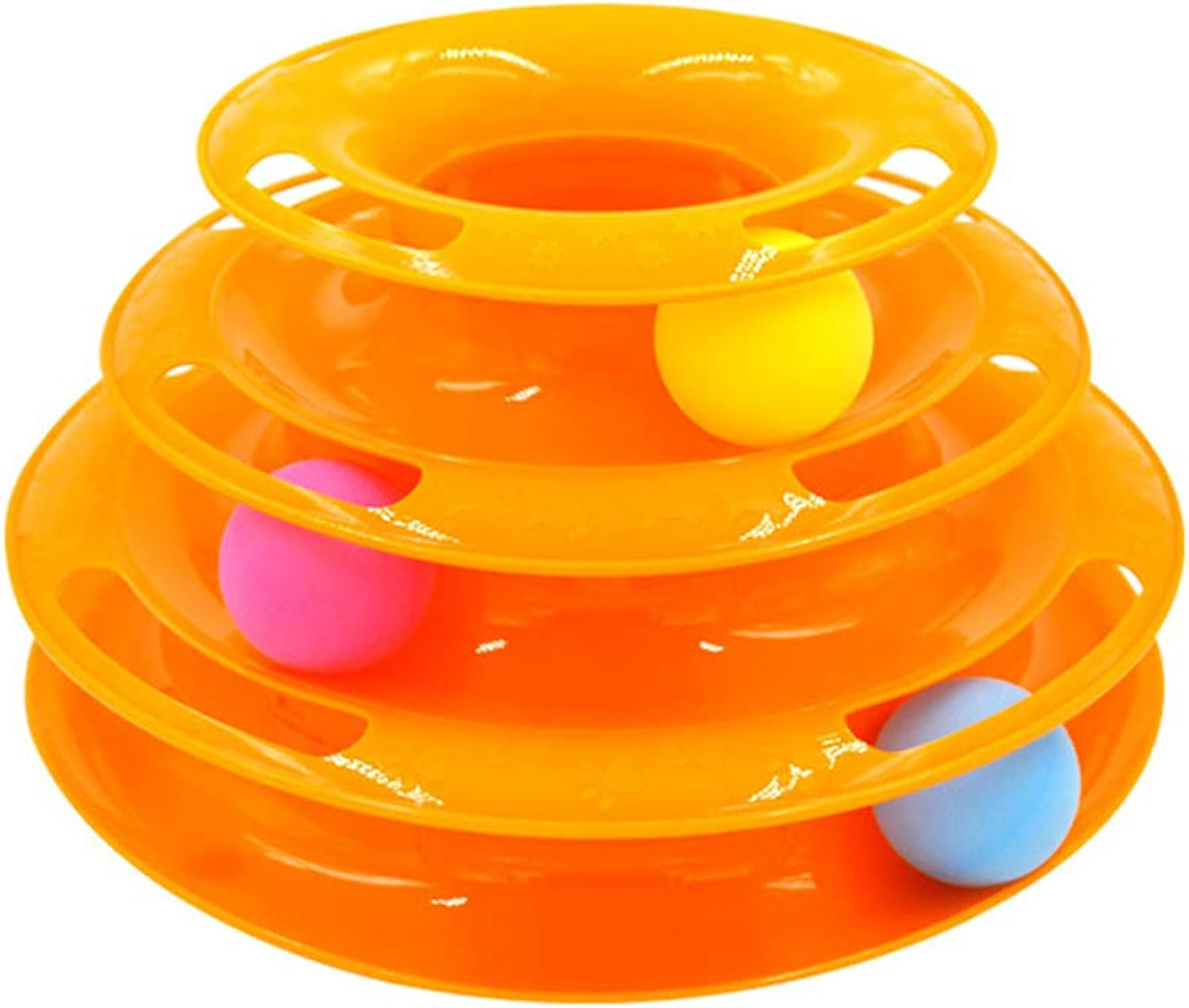 Cat Toy ThreeLayer Turntable Pet Puzzle Play Track Tower Funny Cat Toy Dish Bored Toys,orange
