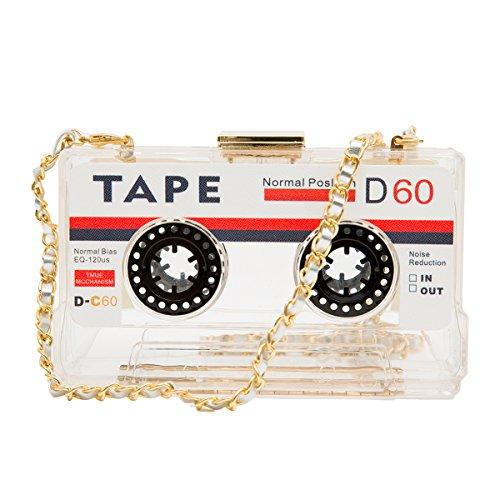 Zarapack Cassette Tape Hard Case Transparent Bag Purse Clutch (Clear) - vintage design - can wear off shoulder