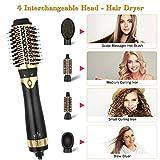 Esolom Haartrockner Warmluftbürste 5 In 1 Multifunktions Föhnbürste Hair Styler & Volumizer Negative Ion Haarglätter Bürste Abnehmbarer Bürstenwechselkopf für Alle Haartypen - 4