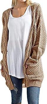 Imily Bela Women s Boho Long Sleeve Open Front Chunky Warm Cardigans Pointelle Pullover Sweater Blouses  Small Khaki