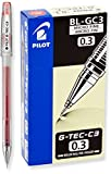 PILOT G-Tec-C Gel Ink Rolling Ball Pens, Micro Fine Point (0.3mm), Red Ink, 12-Pack (35490)