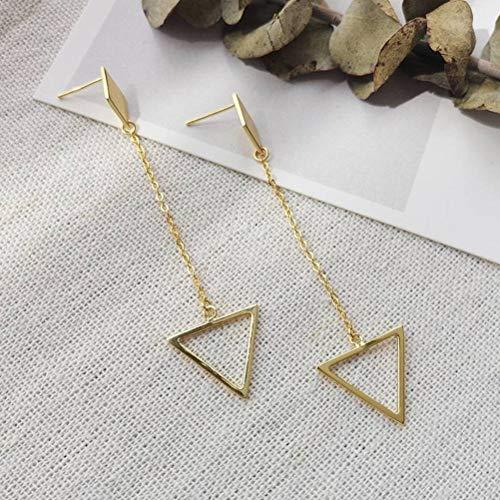 LOt Pendientes de tuerca para mujer S925 de plata de ley con borla de triángulo, cadena larga, personalidad de moda, pendientes de diamante en forma de lágrima, pendientes femeninos, de oro, plata 925