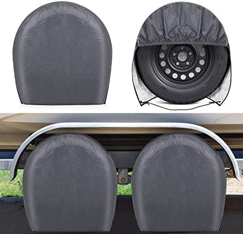 RVMasking Upgraded Waterproof RV Tire Covers Set of 4 for Trailer Camper Heavy Duty PVC Coation product image