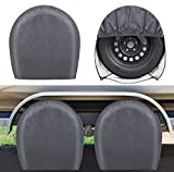 RVMasking Upgraded Waterproof RV Tire Covers Set of 4 for Trailer Camper - Heavy Duty PVC Coation Tire Wheel Protectors Fits Tire Diameters 32' - 34.5'