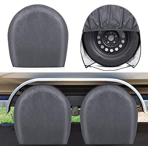 """RVMasking Upgraded Waterproof RV Tire Covers Set of 4 for Trailer Camper - Heavy Duty PVC Coation Tire Wheel Protectors Fits Tire Diameters 32"""" - 34.5"""""""