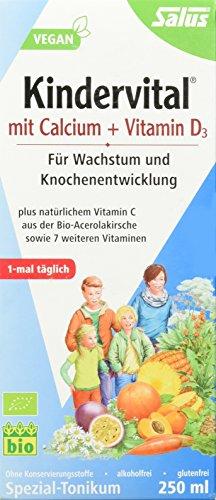 Salus Kindervital mit Calcium + Vitamin D3 – Spezial-Tonikum für Wachstum und Knochenentwicklung – vegan – 250 ml